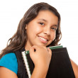 Hispanic Schoolgirl with Books and Bag — Stock Photo