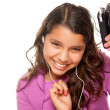 Hispanic Girl with Music Earphones — Stock Photo