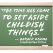 President Obama Inauguration Quote Chalkboard - Stock Photo