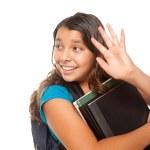 Hispanic Schoolgirl with Books Waves — Stock Photo #2352687