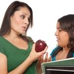 Hispanic Mother and Schoolgirl Daughter — Stock Photo #2352749