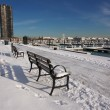 Empty Snowy Bench in Chicago - Stock Photo