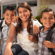 Brothers & Sister Wearing Backpacks — Stock Photo