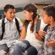 Hispanic Kids at School with Backpacks — Stock Photo #2353208