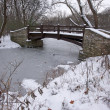 Royalty-Free Stock Photo: Beautiful Wooden Bridge Over Frozen Stream