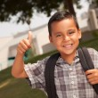 Royalty-Free Stock Photo: Happy Young Hispanic Boy with Backpack