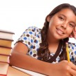 Smiling Hispanic Girl Studying - Stock Photo