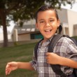 Happy Young Hispanic Boy with Backpack — Foto de Stock