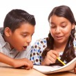Hispanic Brother and Sister Studying — Stock fotografie