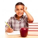 Young Hispanic School Boy on White — Stock Photo