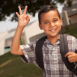 Happy Young Hispanic Boy with Backpack - Stockfoto
