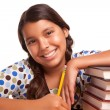 Pretty Smiling Hispanic Girl Studying — Stock Photo