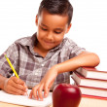 Young Hispanic Boy and Books & Apple — Stock Photo