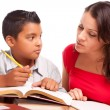 Hispanic Mother and Son Do Homework — Stock Photo
