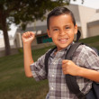 Stock Photo: Young Hispanic Boy at School, Backpack