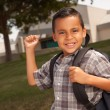 Young Hispanic Boy at School, Backpack — Stock Photo
