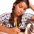 Cute Hispanic Girl Studying Isolated — Foto Stock