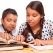 Hispanic Brother and Sister Studying — Stock Photo