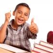 Adorable Hispanic Boy, Books & Apple — Stock Photo