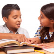 Hispanic Brother and Sister Studying — Stok fotoğraf