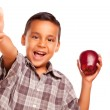 Hispanic Boy with Apple and Thumb Up — Stock Photo