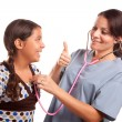 Pretty Hispanic Girl and Female Doctor — Stock Photo