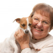 Happy Attractive Senior Woman with Puppy — Stock Photo