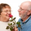 Happy Senior Couple with Red Rose Isolated on White — Stock Photo