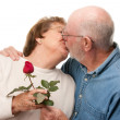 Kissing Senior Couple with Red Rose - Stock Photo