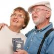Happy Senior Couple with Passports — Stock Photo
