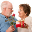 Happy Senior Couple with Gift and Red — Stock Photo