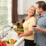 Happy Couple Enjoying Food Preparation — Stock Photo