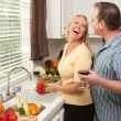 Happy Couple Enjoying An Evening Preparing Food — Stock Photo
