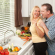 Happy Couple Enjoying Food Preparation — Stock Photo