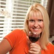 Attractive Blond with a Glass of Wine — Foto de Stock