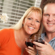 Couple Drinking Wine in the Kitchen — Stock Photo #2355402