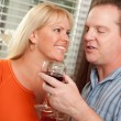 Couple Drinking Wine in the Kitchen — Stock Photo #2355407