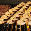 Succulent Steak and Shrimp on BBQ - Stockfoto