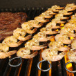Succulent Steak and Shrimp on BBQ - Stock Photo