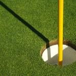 Lush, Freshly Mowed Golf Green and Flag — Stock Photo
