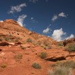 Red Rocks of Utah with Blue Sky and Clouds - Stock Photo