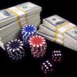 Hundred Dollar Bills, Dice, Poker Chips - Stock Photo