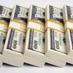 Stacks of One Hundred Dollar Bills — Stock Photo