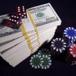 Hundred Dollar Bills, Dice, Poker Chips — Stock Photo