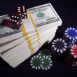 Royalty-Free Stock Photo: Hundred Dollar Bills, Dice, Poker Chips