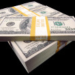 Stock Photo: Hundred Dollar Bills On Black