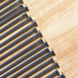 Macro of Nails on a Wood Background — Stok fotoğraf