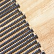 Macro of Nails on a Wood Background — Foto de Stock