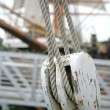 Abstract Boat Rope and Pulley Detail — Foto Stock