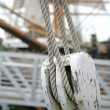Stock Photo: Abstract Boat Rope and Pulley Detail